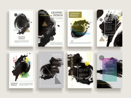 attractive brochure template design set with brush stroke and geometric elements Illusztráció
