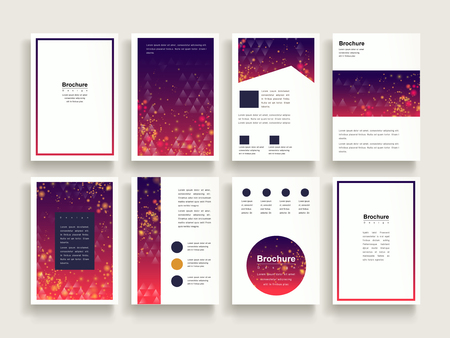 trendy brochure template design set with glitter and triangle elements
