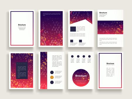trendy brochure template design set met glitter en driehoek elementen
