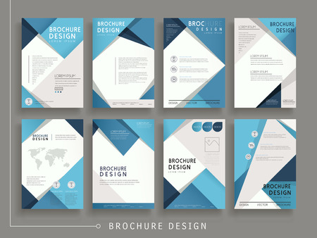 brochure: modern brochure template design set with geometric elements in blue
