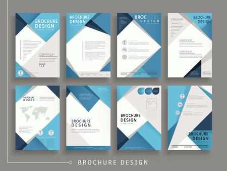 geometria: moderno diseño de plantilla de folleto conjunto con elementos geométricos en azul Vectores
