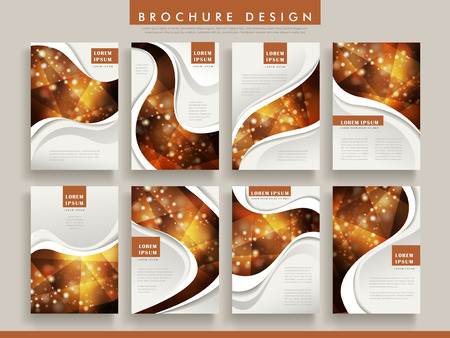 gorgeous: gorgeous brochure template design set with sparkling polygon elements