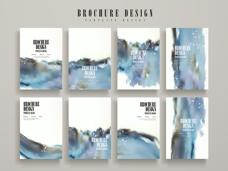 modern brochure template design set with blue blurred ink stroke elements