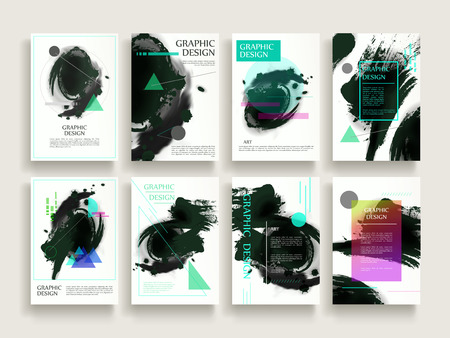 attractive brochure template design set with brush stroke and geometric elements Çizim