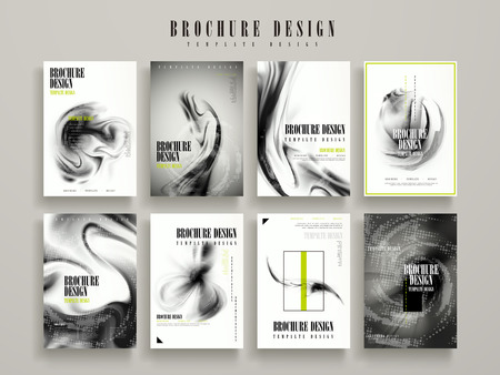 abstract brochure template design set with blurred flow liquid elements 일러스트