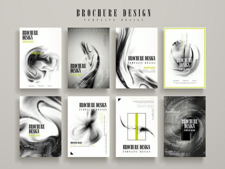 abstract brochure template design set met vage stroom vloeistof elementen