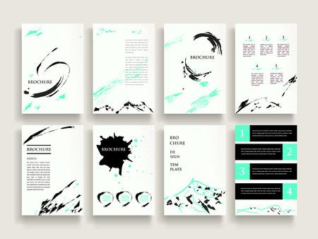 brush stroke: elegant brochure template design set with brush stroke elements