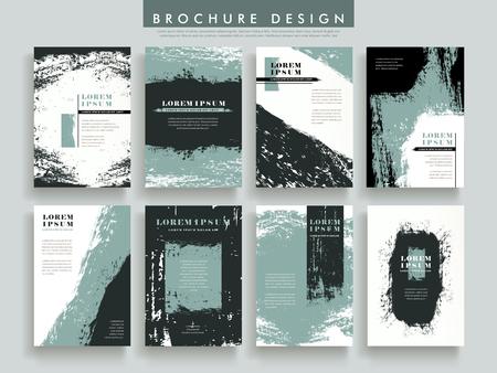 ブラシ ストロークの要素からなる集合のパンフレットのテンプレート デザイン  イラスト・ベクター素材
