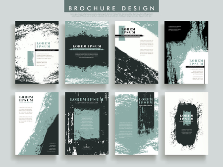 creative brochure template design set with brush stroke elements
