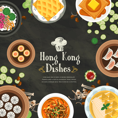 dishes: top view of delicious Hong Kong dishes in flat style