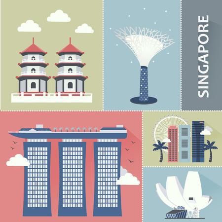 フラット スタイルでシンガポール旅行観光スポット コレクション  イラスト・ベクター素材