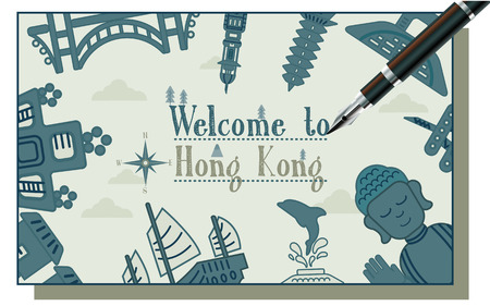 ad: lovely Hong Kong travel concept design in flat style Illustration