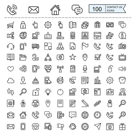contact us icons collections set in thin line style  イラスト・ベクター素材