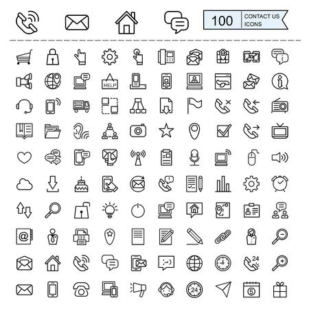 contact met ons op pictogrammen collecties in dunne lijn stijl
