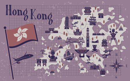 notepaper: retro Hong Kong travel map on notepaper