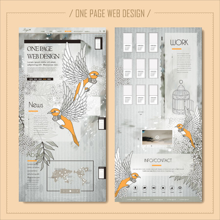 page design: elegant one page web design with blessing birds and floral elements