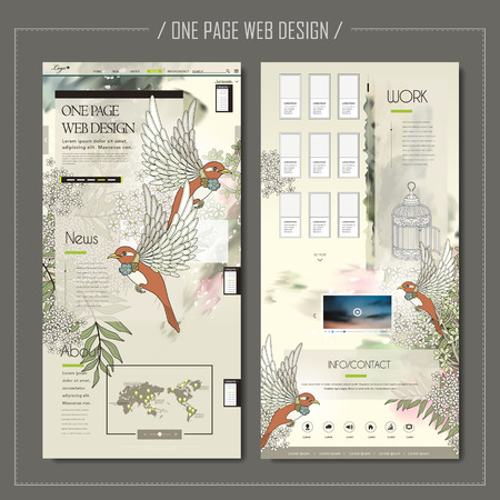 website design: elegant one page web design with blessing birds and floral elements