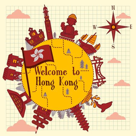 notepaper: lovely Hong Kong travel poster on notepaper