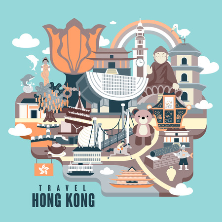 hong kong: Hong Kong travel poster design with attractions in flat style