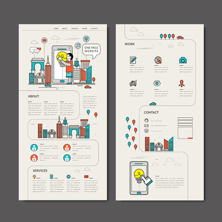 adorable one page web design in thin line style Çizim