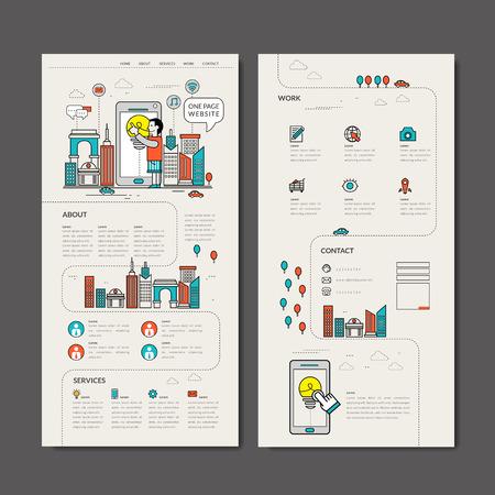 Schattig een pagina webdesign in dunne lijn stijl Stock Illustratie