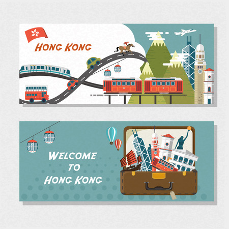 hong kong: creative Hong Kong travel attractions banner in flat design