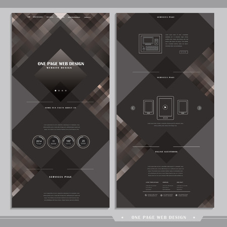 abstract shape: graceful one page web design with geometric elements in brown Illustration