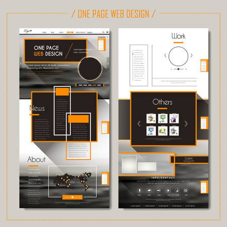 web template: modern one page web design with geometric elements and blurred background Illustration