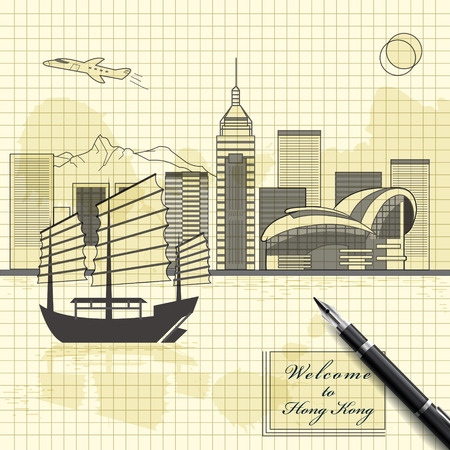 hong kong harbour: creative Victoria harbor scenery design in sketch style