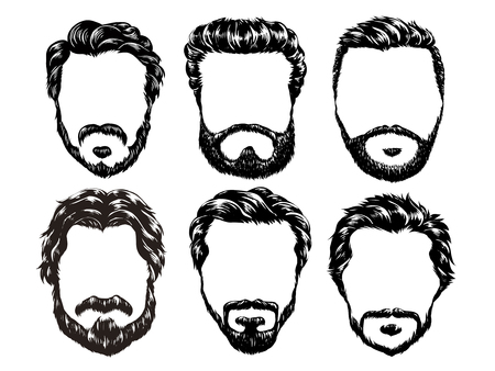 fashion illustration: hand drawn hipster fashion men hair and beards set