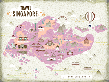 attractions: Singapore travel map with lovely attractions in flat design