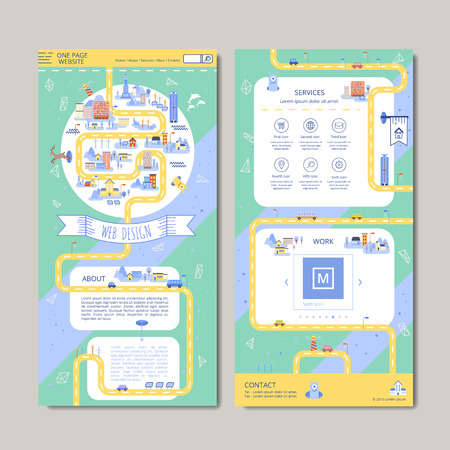 adorable one page web design in flat style Vectores