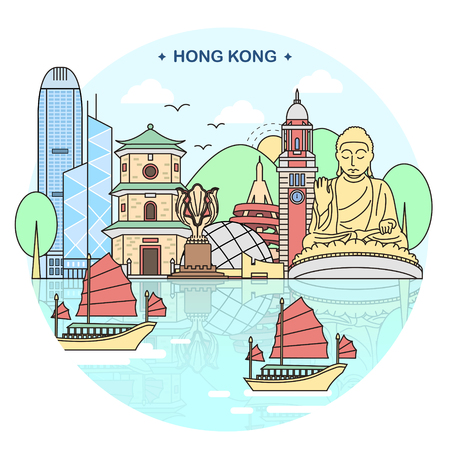 attractive Hong Kong travel concept poster design
