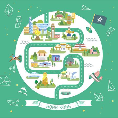 素敵な香港旅行の円形コレクション  イラスト・ベクター素材