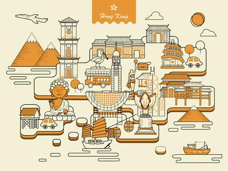 hong kong: lovely Hong Kong map design in thin line design
