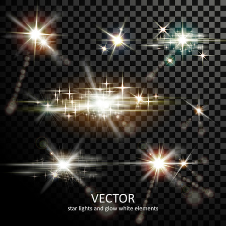 attractive light sparkles collection on transparent background 向量圖像