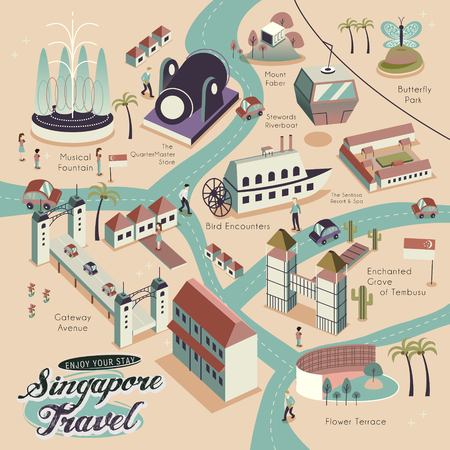 tour guide: lovely Singapore scenery poster design in 3d isometric style