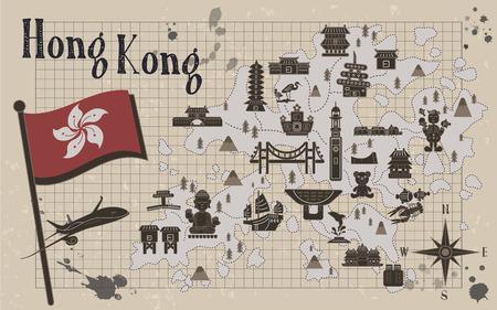 reise retro: retro Hongkong Reise-Karte auf Briefpapier