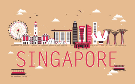 singapore city: Singapore travel concept design with bay scene in flat design Illustration