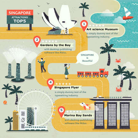 singapore city: Singapore travel attractions top 5 poster design in flat style Illustration