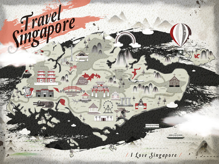 chinatown: retro Singapore travel map in Chinese ink style Illustration