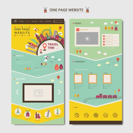 旅行の概念の要素を持つ 1 つのページ web デザイン