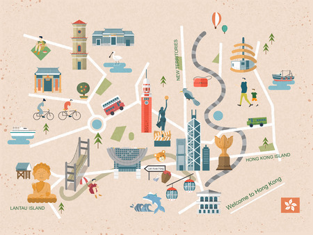 fashionable Hong Kong travel concept map in flat design Çizim