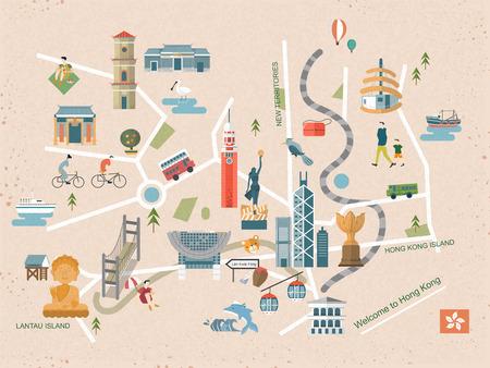 hong kong: fashionable Hong Kong travel concept map in flat design Illustration