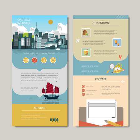 hong kong harbour: adorable one page web design with harbor scene in flat style Illustration