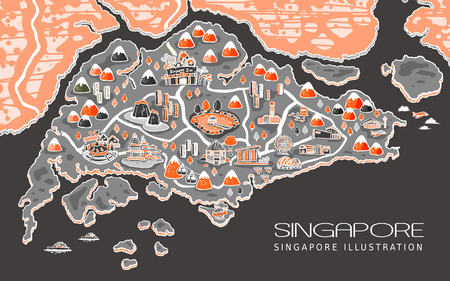 travel map: adorable Singapore travel map in hand drawn style