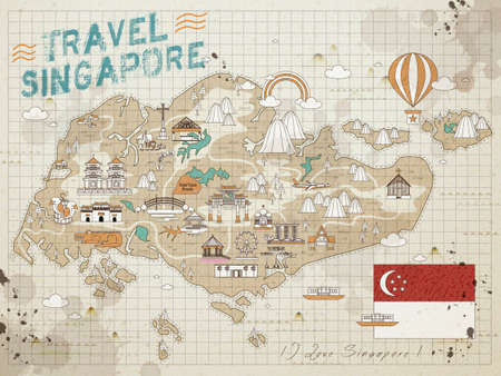 retro Singapore travel map on the note paper Illustration