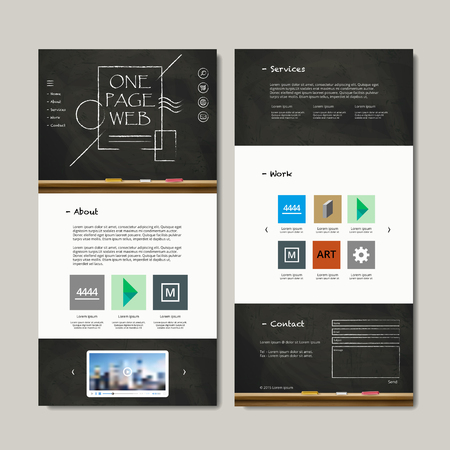 one page web design with chalkboard elements