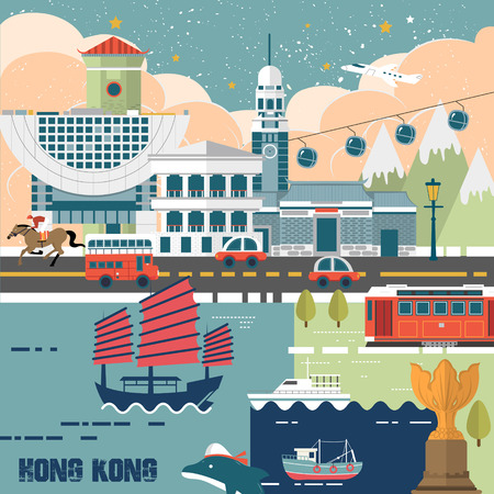 HONG KONG: adorable Hong Kong travel concept poster in flat design Illustration