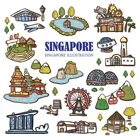 icons set: Singapore must see attractions collection in hand drawn doodle style